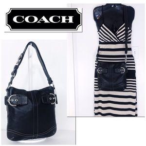 Coach Soho Black Leather Convertible Duffle Bag